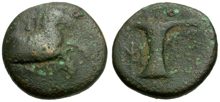 Ancient Coins - Aeolis.  Kyme Æ16 / Horse and Vase