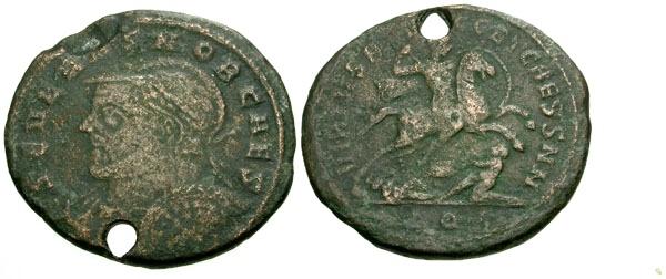 Ancient Coins - gF/gF Severus II Caesar Æ Follis / Severus Riding Down Captive