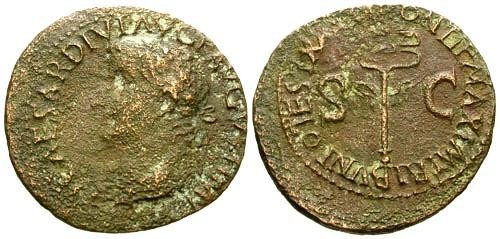 Ancient Coins - gF+/gF+ Tiberius AE AS / Winged Caduceus