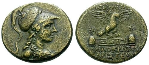 Ancient Coins - VF/VF Phrygia Apameia AE22 / Athena / Eagle