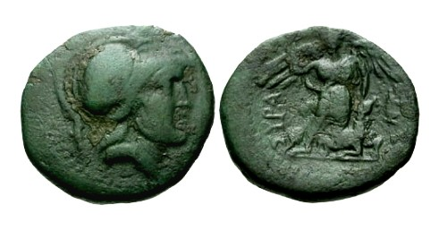 Ancient Coins - gF+/gF+ Sicily Syracuse under Roman Rule AE22 / Athena and Nike sacrificing