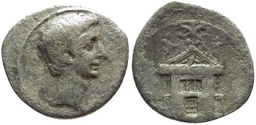 Ancient Coins - gF/gF Augustus/Octavian Denarius / Curia Julia home of the Roman Senate
