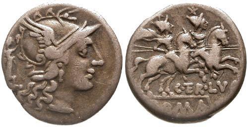 Ancient Coins - 147 BC / aVF/aVF Terentia 10 Roman Republic Denarius / Dioscuri