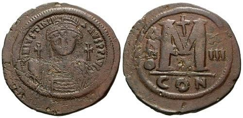 Ancient Coins - F+/VF Justinian I Follis 40mm