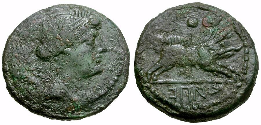 Ancient Coins - Campania. Capua. Second Punic War Æ Uncia / Boar