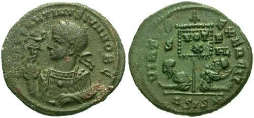 Ancient Coins - aVF/VF Constantine II AE3 / Two Captives R4  Unpublished Bust Type