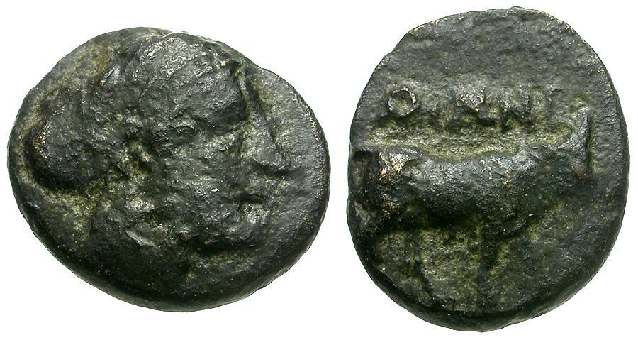 Ancient Coins - Islands off Ionia. Ikaria. Oinoe Æ10 / Bull