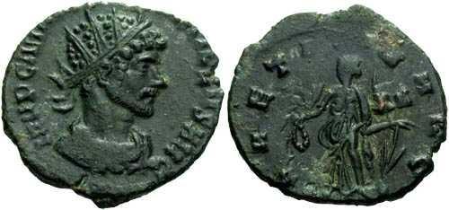 Ancient Coins - EF/aVF Quintillius Antoninianus / Laetitia Green Patina