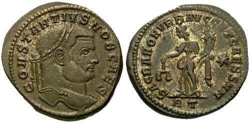Ancient Coins - VF/VF Constantius I Follis / Moneta and Silvering