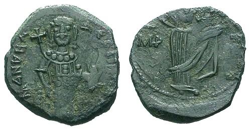 Ancient Coins - aVF/aVF Manuel I Comnenos AE Tetarteron of Constantinople / Virgin Orans