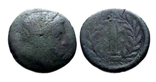 Ancient Coins - VG/VG Epeiros Ambrakia AE20 / Obelisk