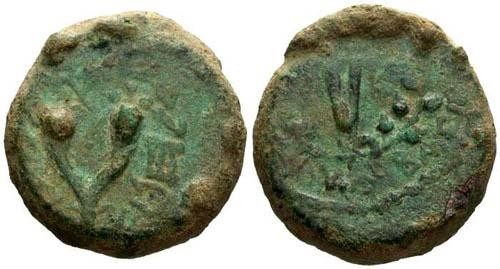 Ancient Coins - VF/VF Mattathias Antigonus Bronze / Double Cornucopia