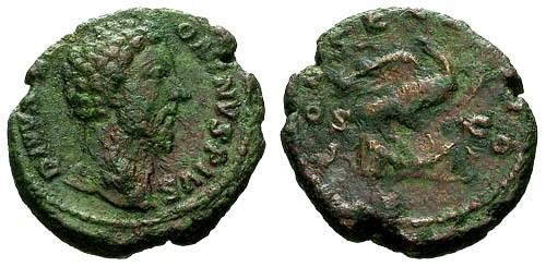 Ancient Coins - VF/F Marcus Aurelius Divvs AE AS Struck by Commodus / Eagle