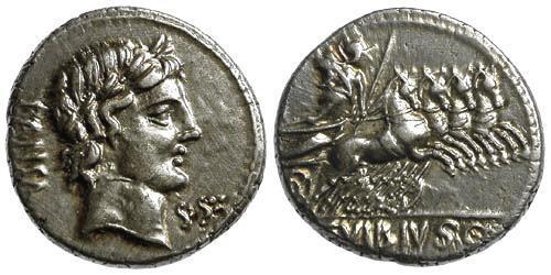 Ancient Coins - 90 BC EF/EF Vibia 1 Roman Republic AR Denarius w Apollo Minerva