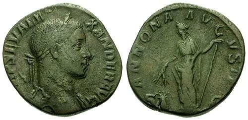 Ancient Coins - aVF/aVF Severus Alexander AE Sestertius / Annona