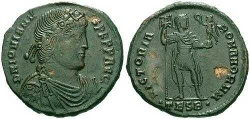 Ancient Coins - gVF/aVF Jovian AE 1 / Emperor holding Victory
