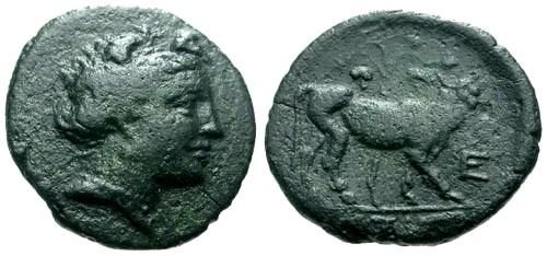 Ancient Coins - VF/VF Euboia Histiaia AE20 / Nymph / Bull