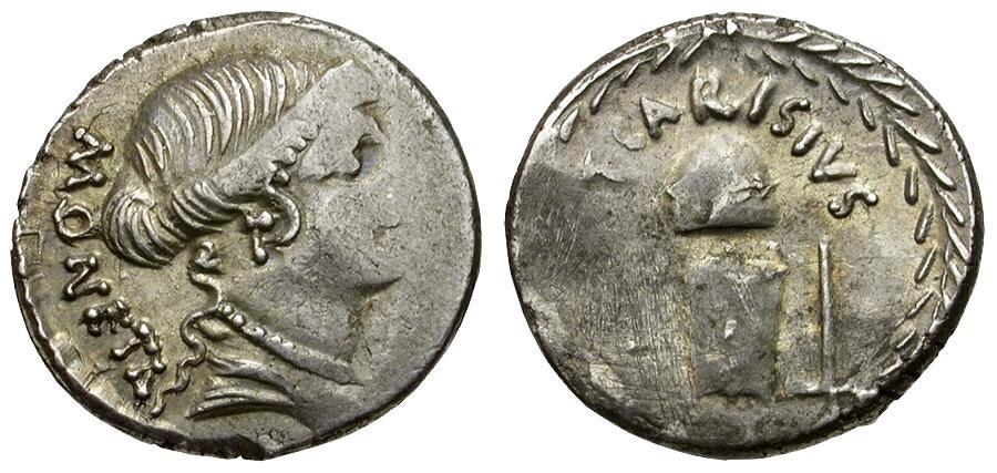 Ancient Coins - 46 BC - Roman Republic T Carisius AR Denarius / Minting Tools