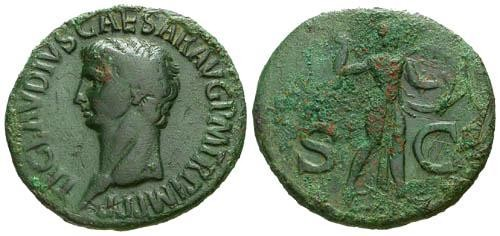 Ancient Coins - Claudius AE Dupondius / Minerva