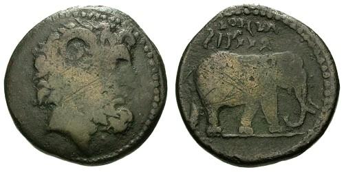 Ancient Coins - gF+/gF+ Kings of Mauretania Juba I  AE28 / Zeus Ammon and Elephant