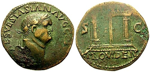 Ancient Coins - VF/VF Vespasian Imitative AE AS / PROVIDEN