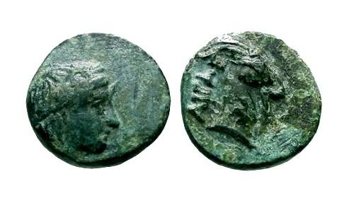 Ancient Coins - VF/VF Aiolis Aigai AE10 / Goat