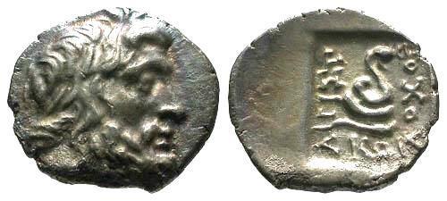 Ancient Coins - VF/VF Carian Islands Cos AR Tetrobol / Asklepios and Serpent
