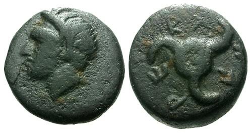 Ancient Coins - aVF/aVF Lycia Dynast of Antiphellos AE14 / Horned Pan & Triskeles / Perikle