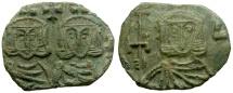 Ancient Coins - Byzantine Empire. Constantine V Copronymus, with Leo IV Æ Follis