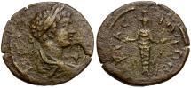 Ancient Coins - Geta as Caesar. Lydia. Acrasus Æ20 / Cultus Statue of Artemis