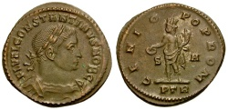 Ancient Coins - Constantine I the Great as Caesar Æ Follis / Genius
