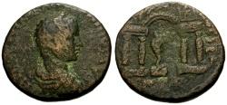 Ancient Coins - gF+/gF+ Elagabalus, Phoenicia Berytos Æ26 / Marsyas in Temple