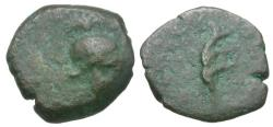 Ancient Coins - Seleukid Kings. Antiochos VII Euergetes (138-129 BC). Seleukid Coins of Ancient Israel Æ11 / Helmet & Aplustre