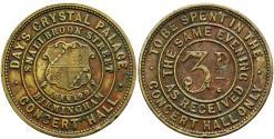World Coins - England. Warwickshire. Birmingham. Day's Crystal Palace.Æ 3 Pence