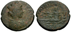 Ancient Coins - Lydia.  Sardeis Æ22 / River god