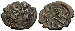 Ancient Coins - Byzantine Empire. Heraclius and Heraclius Constantine  Æ Half Follis