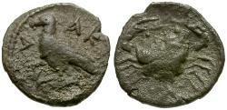Ancient Coins - Sicily. Akragas AR Litra / Crab