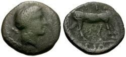 Ancient Coins - Thessaly, Atrax Æ Chalkous / Nymph / Horse