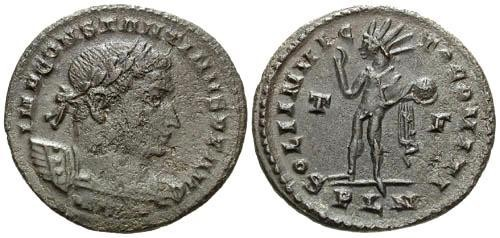 Ancient Coins - F+/aEF Constantine I the Great AE Follis / Sol