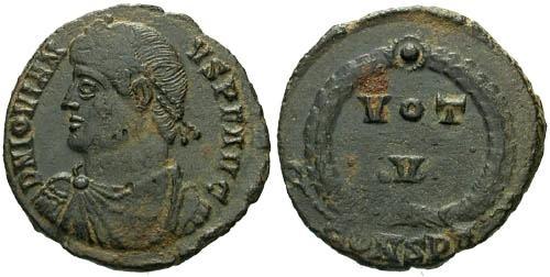 Ancient Coins - VF/VF Jovian Votive / VOT V