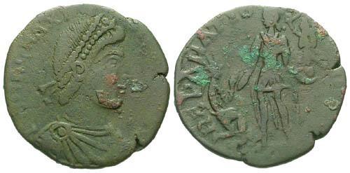 Ancient Coins - F/F Magnus Maximus AE2 / Emperor Raising Kneeling Female