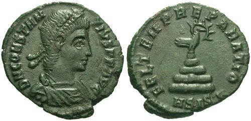 Ancient Coins - EF/EF Constantius II AE / Phoenix on rocks