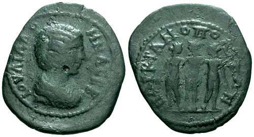 Ancient Coins - aVF/aVF Julia Domna AE24 / Three Graces