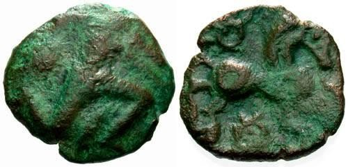 Ancient Coins - F/F Bellovaci Bronze / Running Cubist