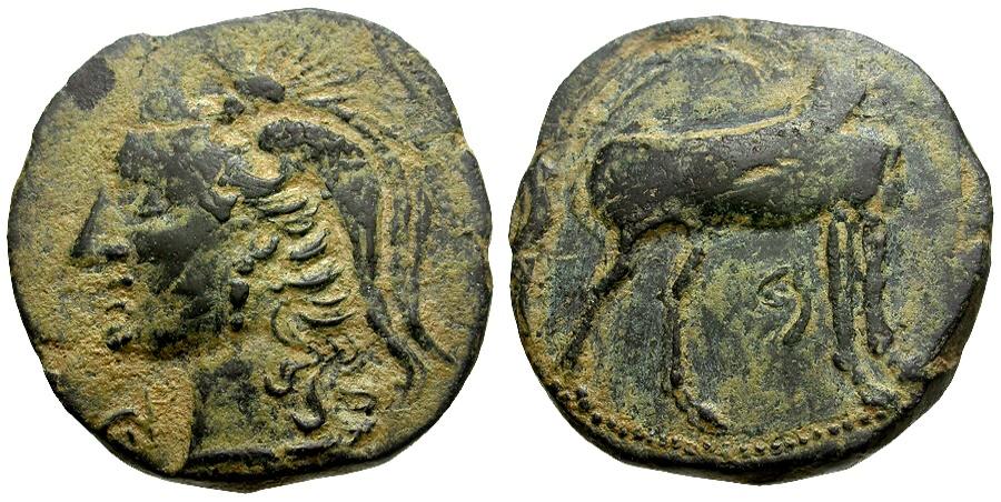 Ancient Coins - Spain. Carthago Nova under Carthaginian Occupation Æ25 / Athena