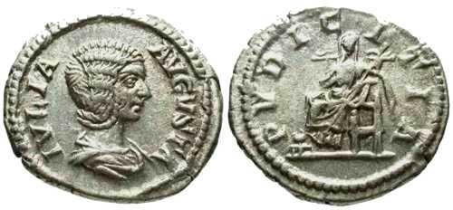 Ancient Coins - EF/VF Julia Domna Denarius / Pudicitia