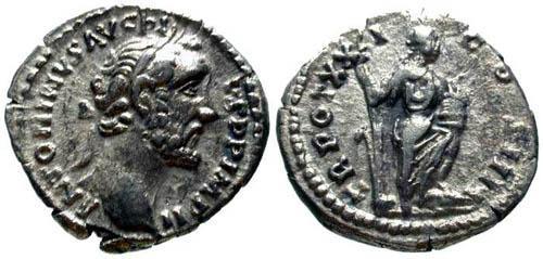 Ancient Coins - VF/aVF Antoninus Pius Denarius / Annona