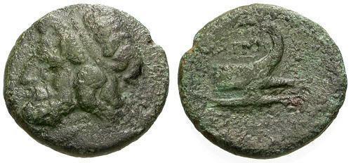 Ancient Coins - gF+/gF+ Thessaly Magnetes Æ Dichalkon / Zeus / Prow
