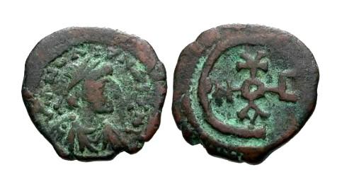 Ancient Coins - aVF/aVF Justinian I AE Pentanummium / Monogram