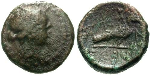 Ancient Coins - aVF/aVF Ionia Samos AE18 / Peacock